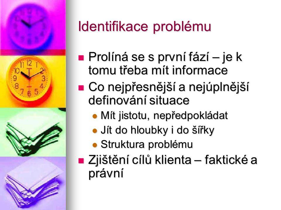 Identifikace problému Prolíná se s první fází – je k tomu třeba mít informace Prolíná se s první fází – je k tomu třeba mít informace Co nejpřesnější