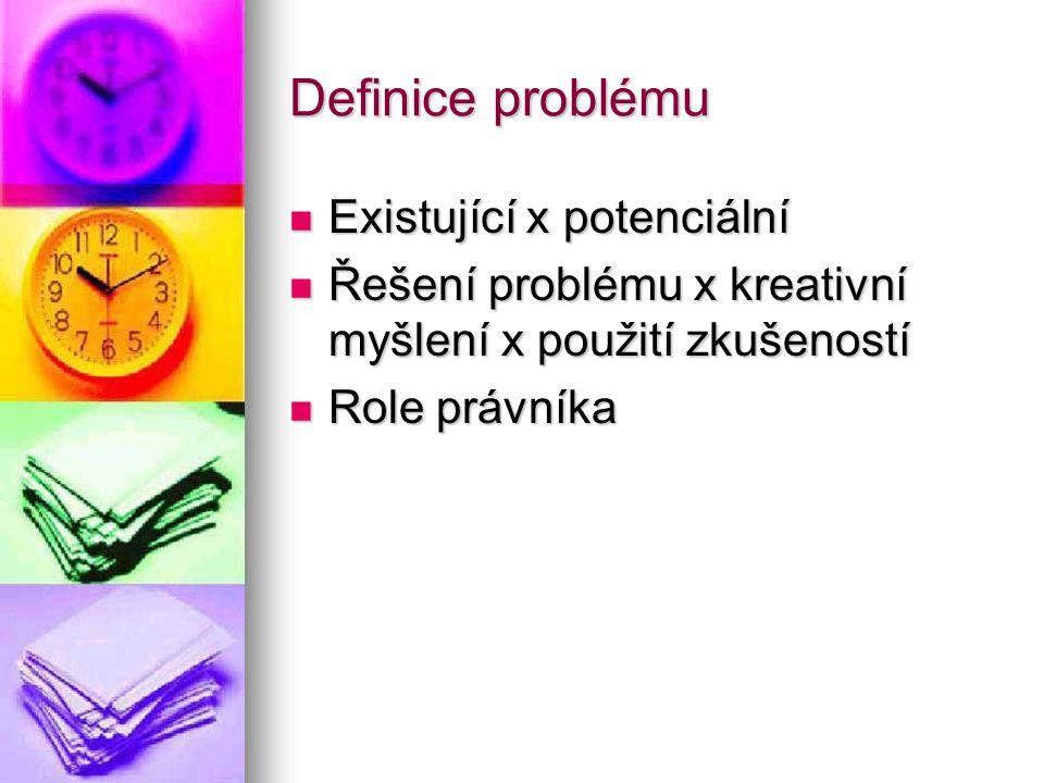 Definice problému Existující x potenciální Existující x potenciální Řešení problému x kreativní myšlení x použití zkušeností Řešení problému x kreativ