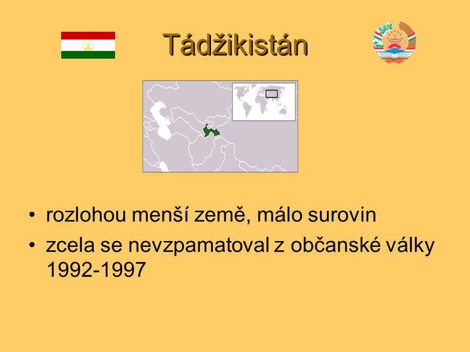 Tádžikistán rozlohou menší země, málo surovin zcela se nevzpamatoval z občanské války 1992-1997