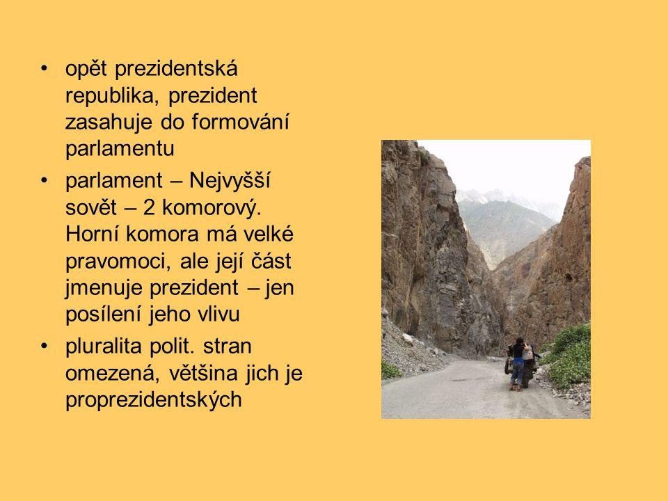opět prezidentská republika, prezident zasahuje do formování parlamentu parlament – Nejvyšší sovět – 2 komorový.