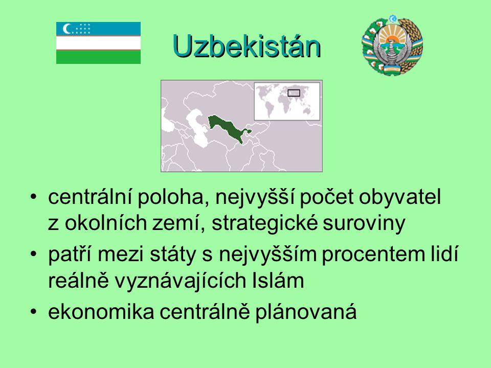 Uzbekistán centrální poloha, nejvyšší počet obyvatel z okolních zemí, strategické suroviny patří mezi státy s nejvyšším procentem lidí reálně vyznávajících Islám ekonomika centrálně plánovaná