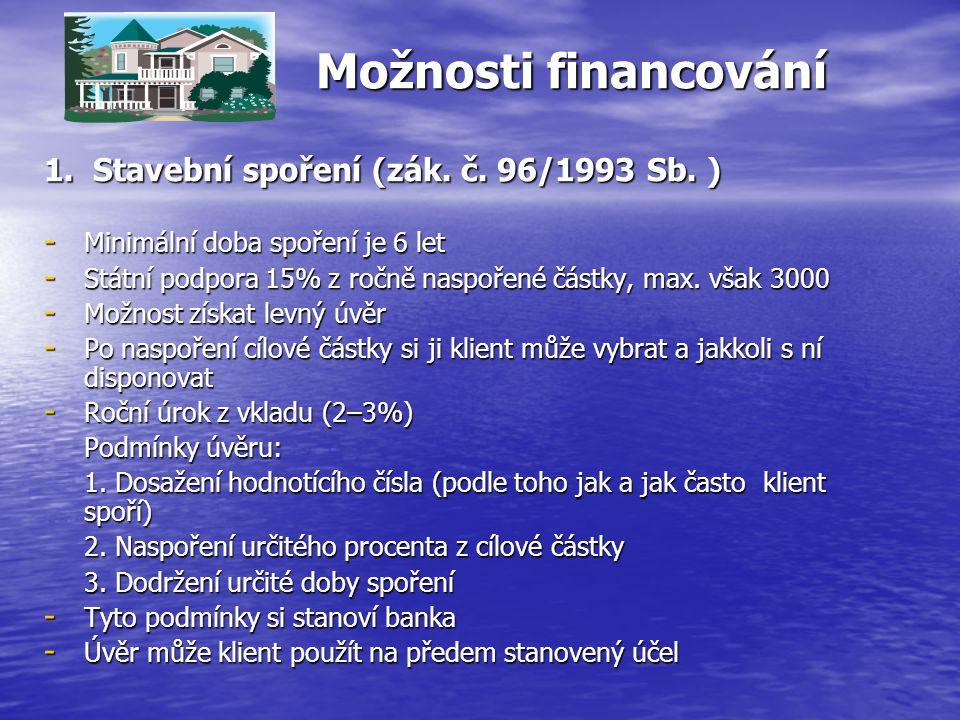 Možnosti financování 1.Stavební spoření (zák. č. 96/1993 Sb.