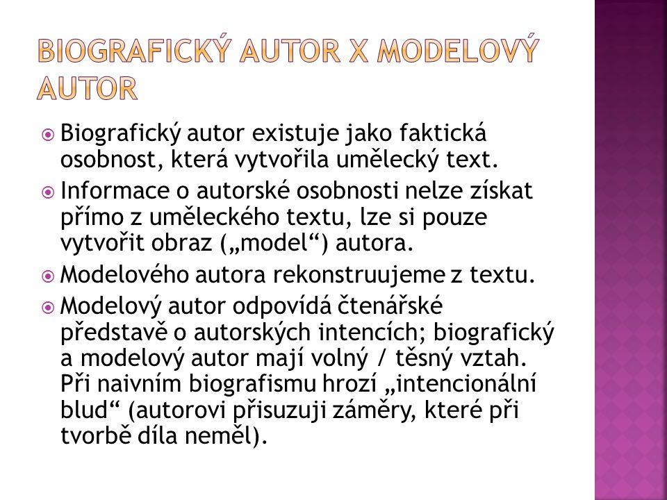  Biografický autor existuje jako faktická osobnost, která vytvořila umělecký text.  Informace o autorské osobnosti nelze získat přímo z uměleckého t