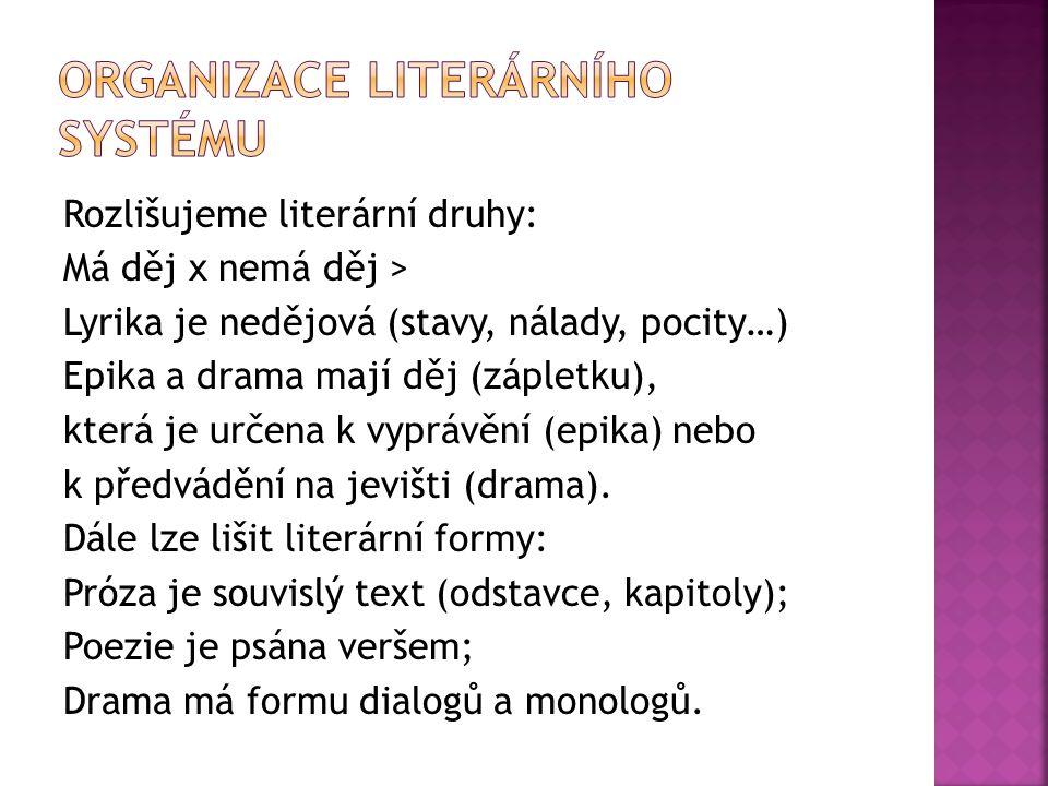 Rozlišujeme literární druhy: Má děj x nemá děj > Lyrika je nedějová (stavy, nálady, pocity…) Epika a drama mají děj (zápletku), která je určena k vypr