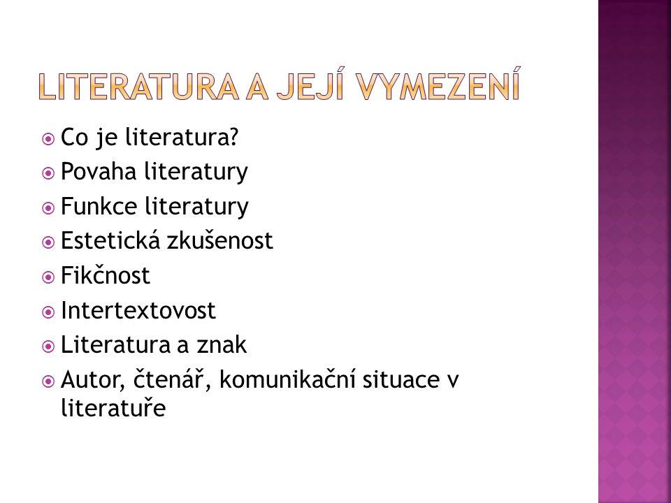  Co je literatura?  Povaha literatury  Funkce literatury  Estetická zkušenost  Fikčnost  Intertextovost  Literatura a znak  Autor, čtenář, kom