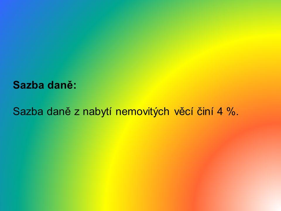 Daň dědická a darovací Zákon č.357/1992 Sb. byl s účinností od 1.
