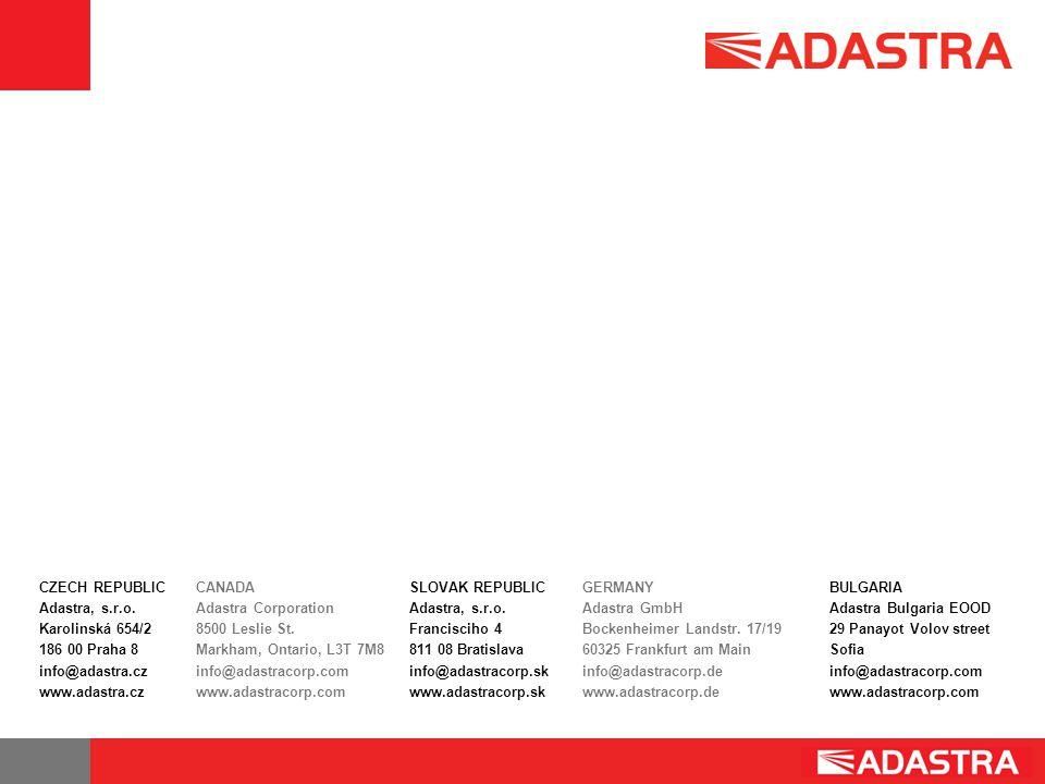 CZECH REPUBLIC Adastra, s.r.o. Karolinská 654/2 186 00 Praha 8 info@adastra.cz www.adastra.cz CANADA Adastra Corporation 8500 Leslie St. Markham, Onta