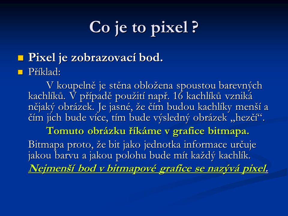 Co je to pixel . Pixel je zobrazovací bod. Pixel je zobrazovací bod.