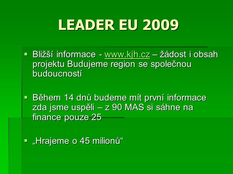"""LEADER EU 2009  Bližší informace - www.kjh.cz – žádost i obsah projektu Budujeme region se společnou budoucností www.kjh.cz  Během 14 dnů budeme mít první informace zda jsme uspěli – z 90 MAS si sáhne na finance pouze 25  """"Hrajeme o 45 milionů"""