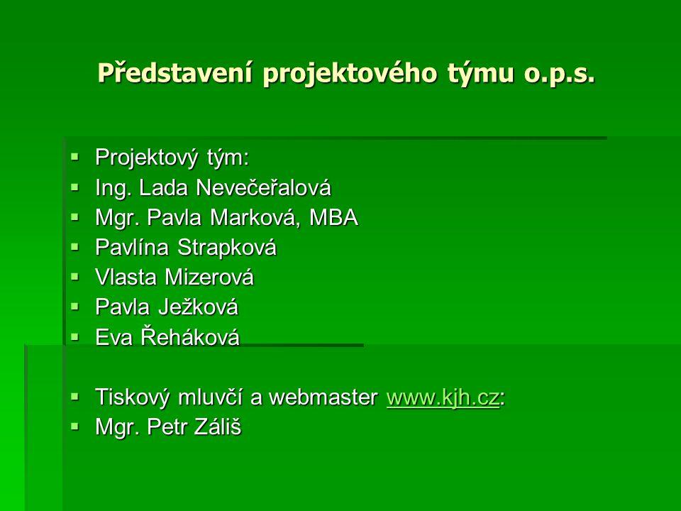 Představení projektového týmu o.p.s.  Projektový tým:  Ing.