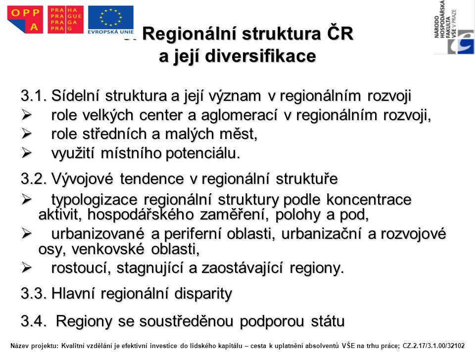 3.Regionální struktura ČR a její diversifikace 3.1.