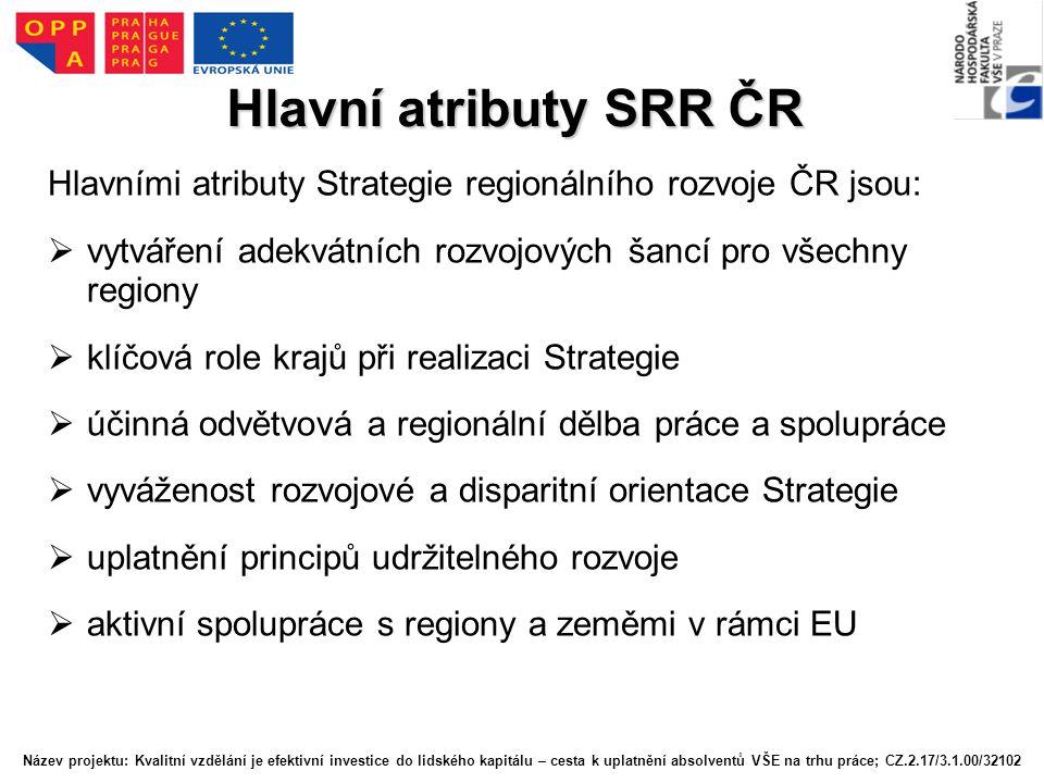 Hlavní atributy SRR ČR Hlavními atributy Strategie regionálního rozvoje ČR jsou:  vytváření adekvátních rozvojových šancí pro všechny regiony  klíčová role krajů při realizaci Strategie  účinná odvětvová a regionální dělba práce a spolupráce  vyváženost rozvojové a disparitní orientace Strategie  uplatnění principů udržitelného rozvoje  aktivní spolupráce s regiony a zeměmi v rámci EU Název projektu: Kvalitní vzdělání je efektivní investice do lidského kapitálu – cesta k uplatnění absolventů VŠE na trhu práce; CZ.2.17/3.1.00/32102