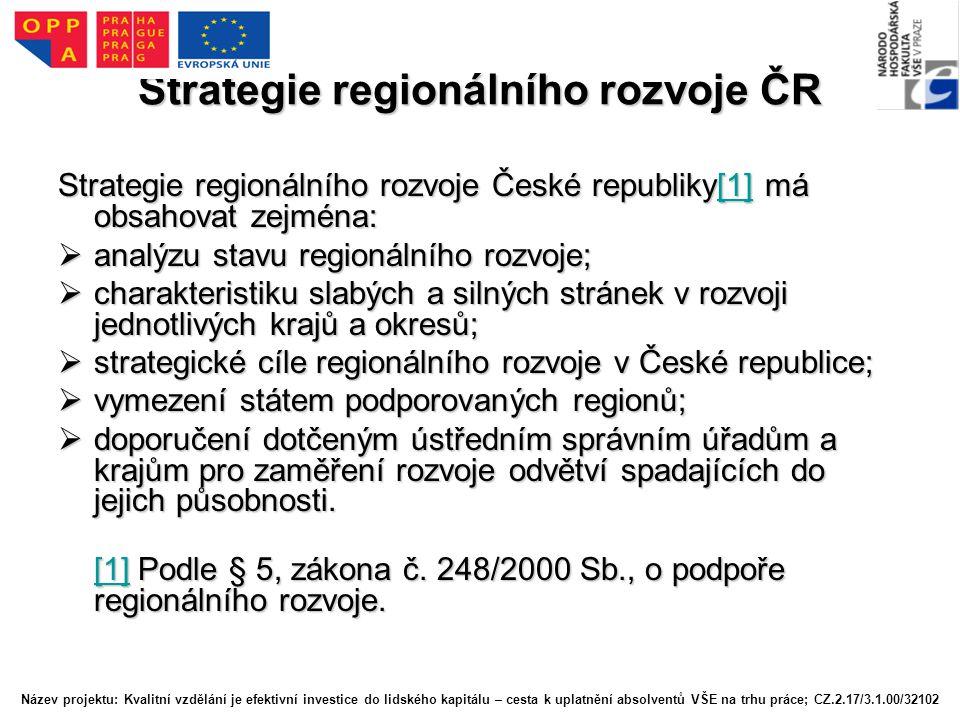 Strategie regionálního rozvoje ČR Strategie regionálního rozvoje České republiky[1] má obsahovat zejména: [1]  analýzu stavu regionálního rozvoje;  charakteristiku slabých a silných stránek v rozvoji jednotlivých krajů a okresů;  strategické cíle regionálního rozvoje v České republice;  vymezení státem podporovaných regionů;  doporučení dotčeným ústředním správním úřadům a krajům pro zaměření rozvoje odvětví spadajících do jejich působnosti.