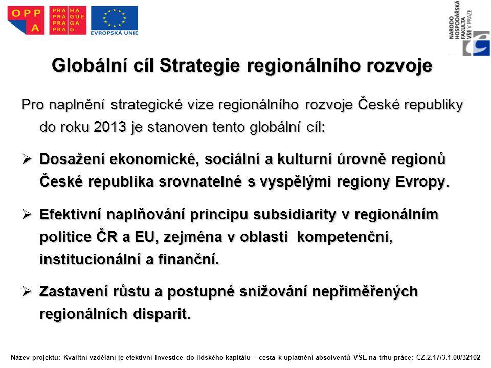 Globální cíl Strategie regionálního rozvoje Pro naplnění strategické vize regionálního rozvoje České republiky do roku 2013 je stanoven tento globální cíl:  Dosažení ekonomické, sociální a kulturní úrovně regionů České republika srovnatelné s vyspělými regiony Evropy.