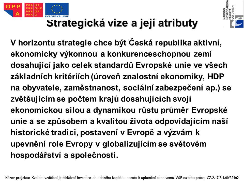 Strategická vize a její atributy V horizontu strategie chce být Česká republika aktivní, ekonomicky výkonnou a konkurenceschopnou zemí dosahující jako celek standardů Evropské unie ve všech základních kritériích (úroveň znalostní ekonomiky, HDP na obyvatele, zaměstnanost, sociální zabezpečení ap.) se zvětšujícím se počtem krajů dosahujících svojí ekonomickou silou a dynamikou růstu průměr Evropské unie a se způsobem a kvalitou života odpovídajícím naší historické tradici, postavení v Evropě a výzvám k upevnění role Evropy v globalizujícím se světovém hospodářství a společnosti.
