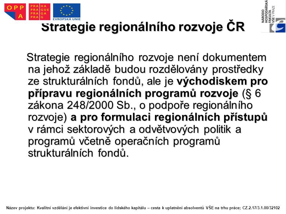 Strategie regionálního rozvoje ČR Strategie regionálního rozvoje není dokumentem na jehož základě budou rozdělovány prostředky ze strukturálních fondů, ale je východiskem pro přípravu regionálních programů rozvoje (§ 6 zákona 248/2000 Sb., o podpoře regionálního rozvoje) a pro formulaci regionálních přístupů v rámci sektorových a odvětvových politik a programů včetně operačních programů strukturálních fondů.