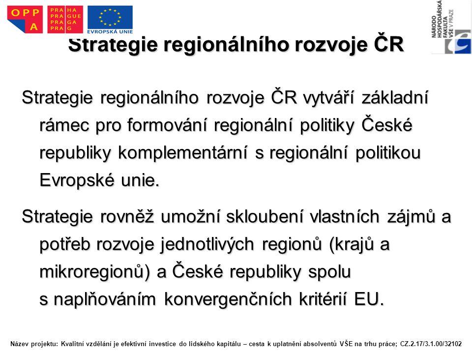 Strategie regionálního rozvoje ČR Návrh struktury a obsahového zaměření SRR je ve vazbě na novou politiku HSS EU a na základní koncepční dokumenty EU (jako např.