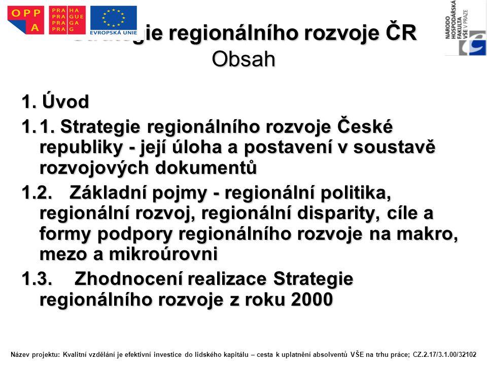 Strategie regionálního rozvoje ČR Obsah 1.Úvod 1.1.