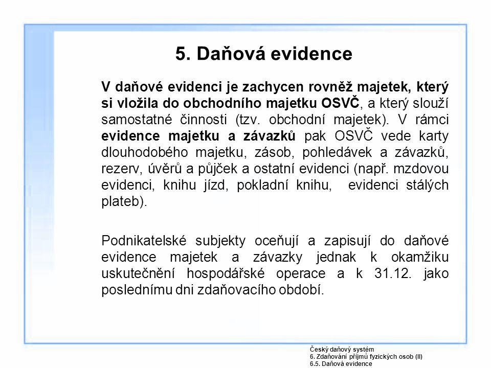 5. Daňová evidence V daňové evidenci je zachycen rovněž majetek, který si vložila do obchodního majetku OSVČ, a který slouží samostatné činnosti (tzv.