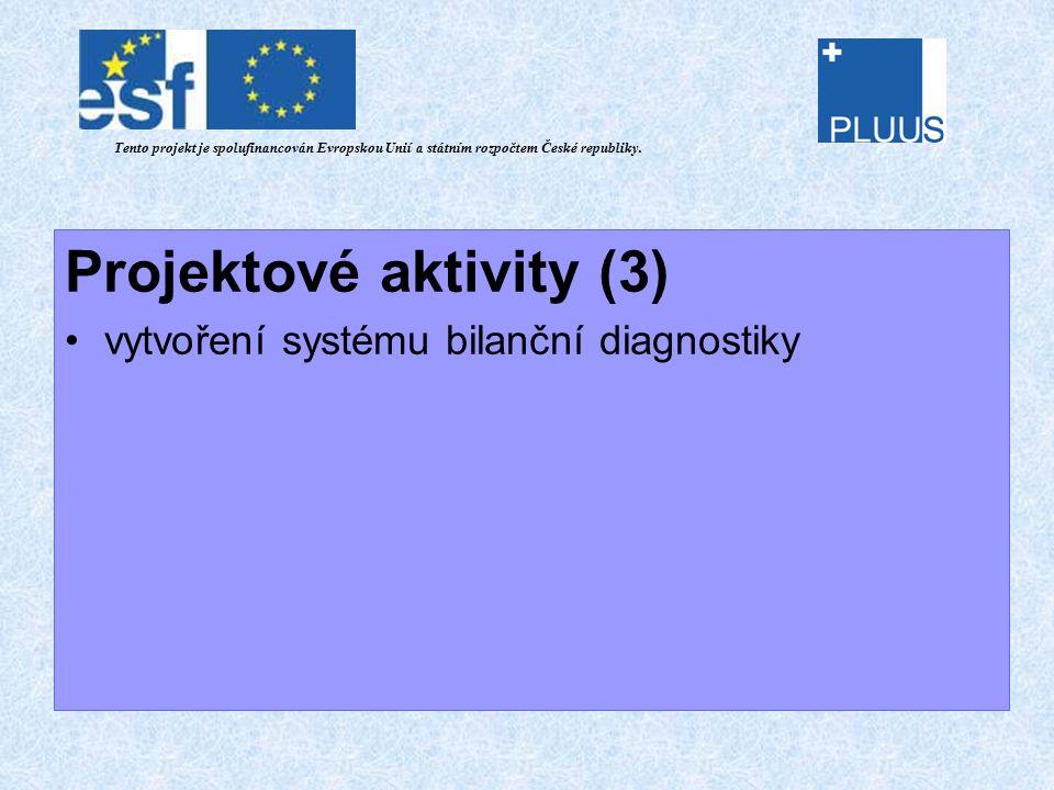 Projektové aktivity (3) vytvoření systému bilanční diagnostiky Tento projekt je spolufinancován Evropskou Unií a státním rozpočtem České republiky.