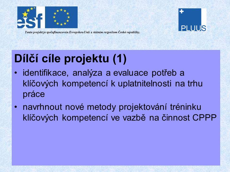 Dílčí cíle projektu (1) identifikace, analýza a evaluace potřeb a klíčových kompetencí k uplatnitelnosti na trhu práce navrhnout nové metody projektování tréninku klíčových kompetencí ve vazbě na činnost CPPP Tento projekt je spolufinancován Evropskou Unií a státním rozpočtem České republiky.