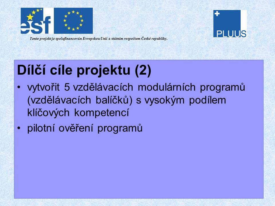 Dílčí cíle projektu (2) vytvořit 5 vzdělávacích modulárních programů (vzdělávacích balíčků) s vysokým podílem klíčových kompetencí pilotní ověření programů Tento projekt je spolufinancován Evropskou Unií a státním rozpočtem České republiky.