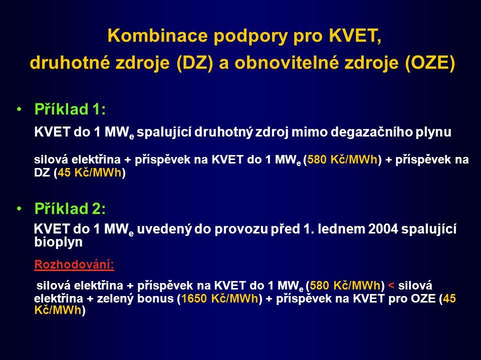 Příklad 1: KVET do 1 MW e spalující druhotný zdroj mimo degazačního plynu silová elektřina + příspěvek na KVET do 1 MW e (580 Kč/MWh) + příspěvek na DZ (45 Kč/MWh) Příklad 2: KVET do 1 MW e uvedený do provozu před 1.