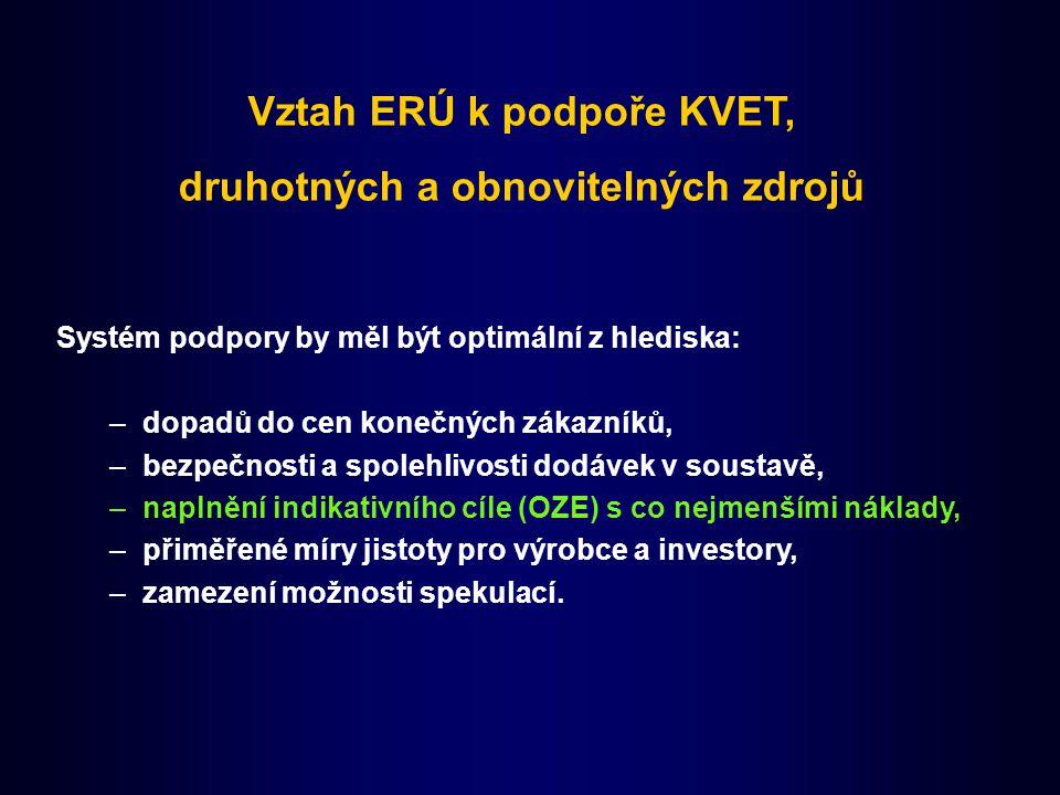 Vztah ERÚ k podpoře KVET, druhotných a obnovitelných zdrojů Systém podpory by měl být optimální z hlediska: –dopadů do cen konečných zákazníků, –bezpe