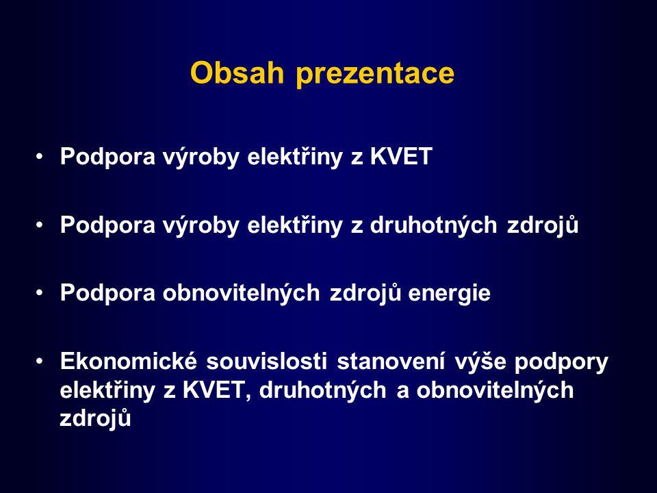 Obsah prezentace Podpora výroby elektřiny z KVET Podpora výroby elektřiny z druhotných zdrojů Podpora obnovitelných zdrojů energie Ekonomické souvislosti stanovení výše podpory elektřiny z KVET, druhotných a obnovitelných zdrojů