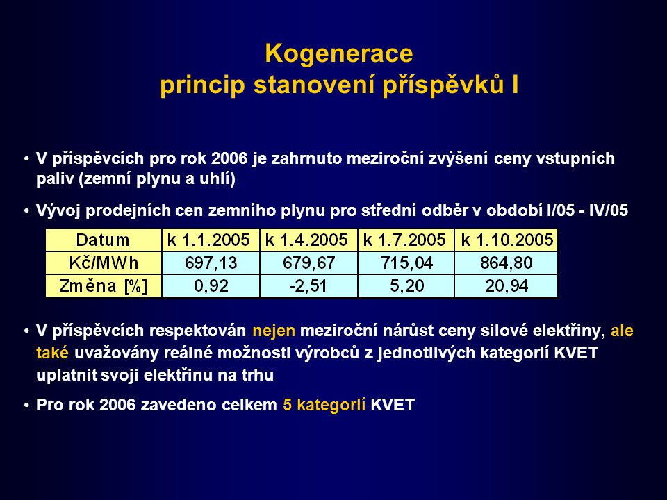 Kogenerace princip stanovení příspěvků I V příspěvcích pro rok 2006 je zahrnuto meziroční zvýšení ceny vstupních paliv (zemní plynu a uhlí) Vývoj prodejních cen zemního plynu pro střední odběr v období I/05 - IV/05 V příspěvcích respektován nejen meziroční nárůst ceny silové elektřiny, ale také uvažovány reálné možnosti výrobců z jednotlivých kategorií KVET uplatnit svoji elektřinu na trhu Pro rok 2006 zavedeno celkem 5 kategorií KVET
