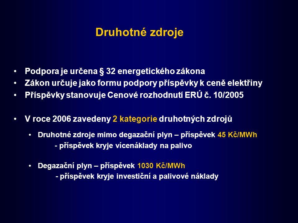 Druhotné zdroje Podpora je určena § 32 energetického zákona Zákon určuje jako formu podpory příspěvky k ceně elektřiny Příspěvky stanovuje Cenové rozhodnutí ERÚ č.