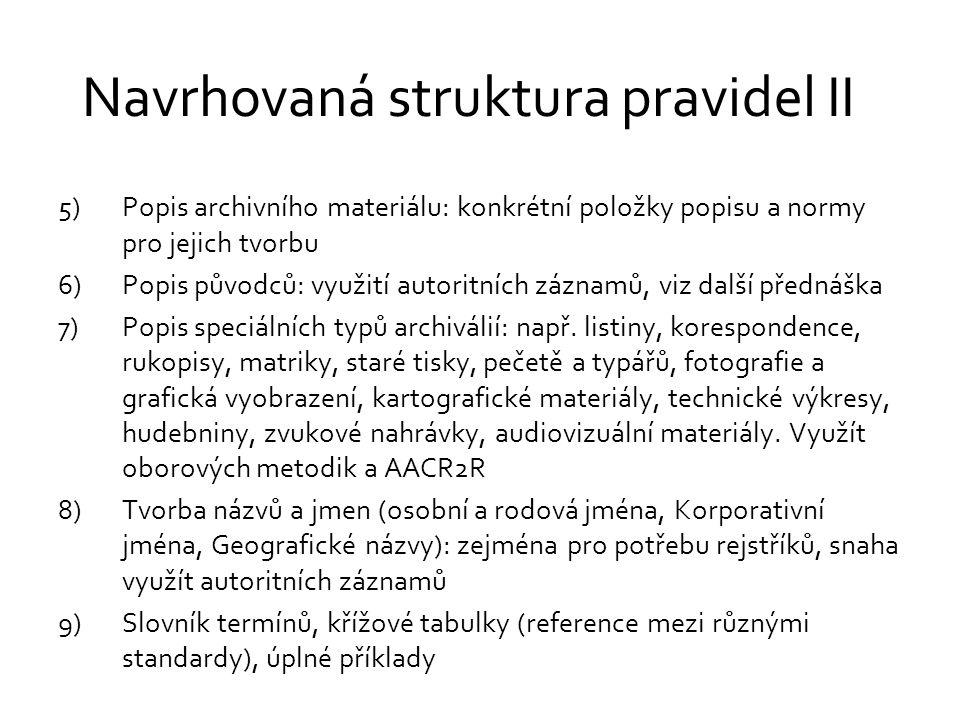 Navrhovaná struktura pravidel II 5)Popis archivního materiálu: konkrétní položky popisu a normy pro jejich tvorbu 6)Popis původců: využití autoritních