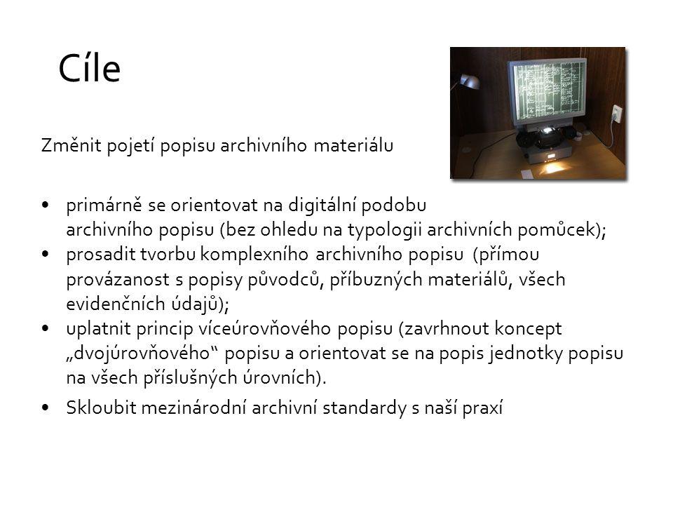 """Cíle Změnit pojetí popisu archivního materiálu primárně se orientovat na digitální podobu archivního popisu (bez ohledu na typologii archivních pomůcek); prosadit tvorbu komplexního archivního popisu (přímou provázanost s popisy původců, příbuzných materiálů, všech evidenčních údajů); uplatnit princip víceúrovňového popisu (zavrhnout koncept """"dvojúrovňového popisu a orientovat se na popis jednotky popisu na všech příslušných úrovních)."""