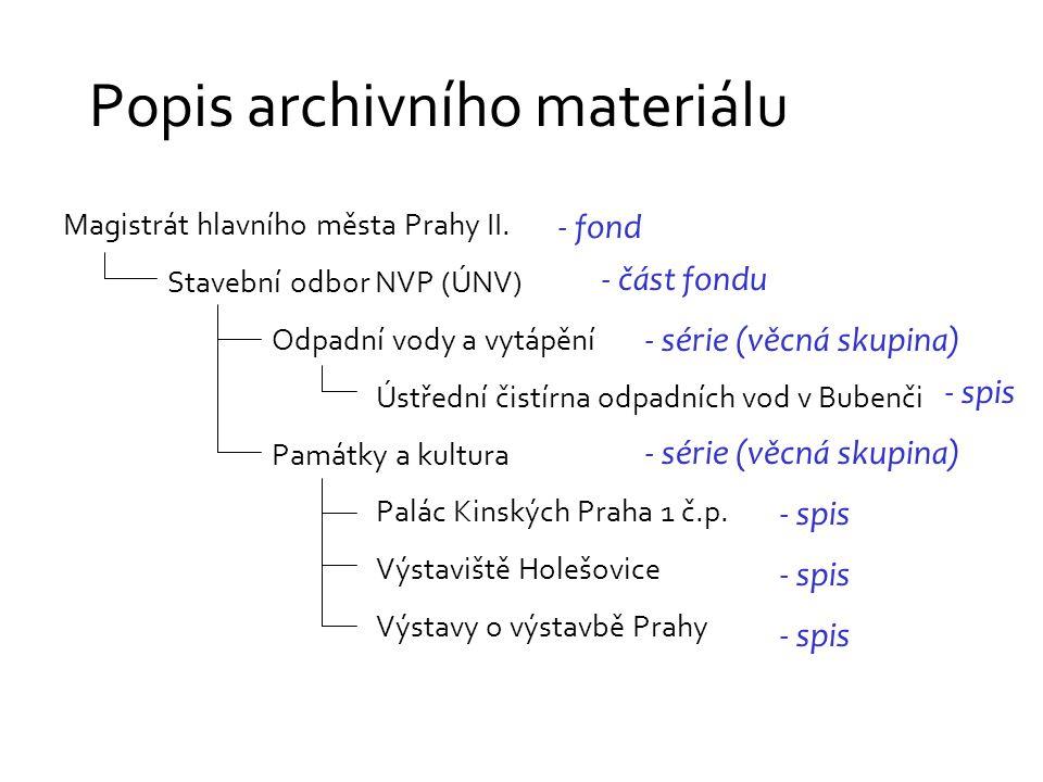 Popis archivního materiálu Magistrát hlavního města Prahy II.
