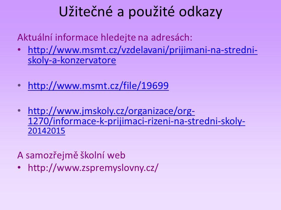Užitečné a použité odkazy Aktuální informace hledejte na adresách: http://www.msmt.cz/vzdelavani/prijimani-na-stredni- skoly-a-konzervatore http://www