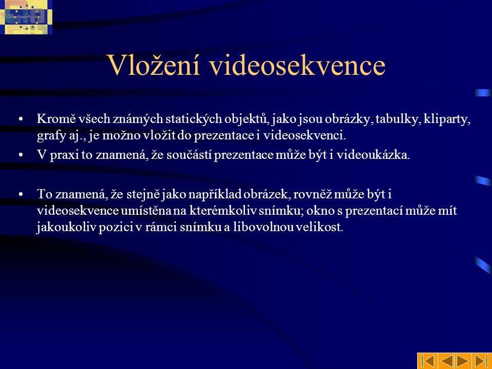 Vložení videosekvence Kromě všech známých statických objektů, jako jsou obrázky, tabulky, kliparty, grafy aj., je možno vložit do prezentace i videosekvenci.