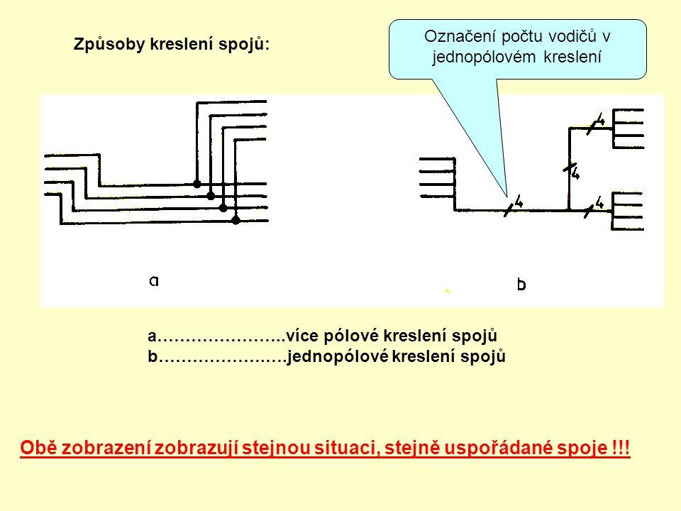 Způsoby kreslení spojů: a…………………..více pólové kreslení spojů b……………….….jednopólové kreslení spojů Obě zobrazení zobrazují stejnou situaci, stejně uspo