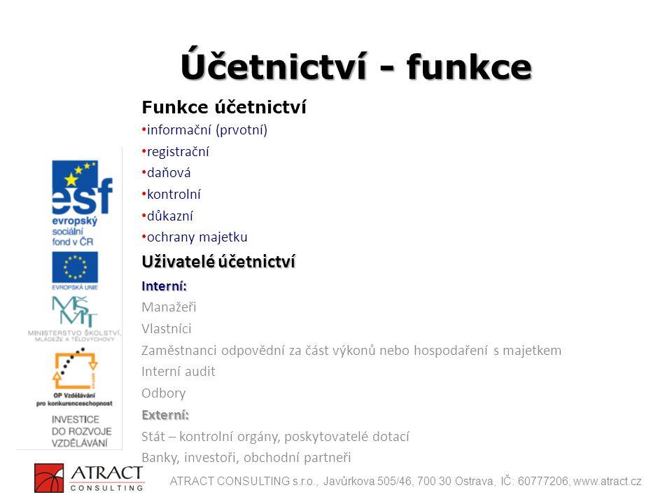 účetní zápisy musí být prováděny tak, aby zajistily úplnost, průkaznost, správnost, srozumitelnost a přehlednost účetnictví a zároveň věrné zobrazení všech evidovaných skutečností Účetní zásady ATRACT CONSULTING s.r.o., Javůrkova 505/46, 700 30 Ostrava, IČ: 60777206, www.atract.cz
