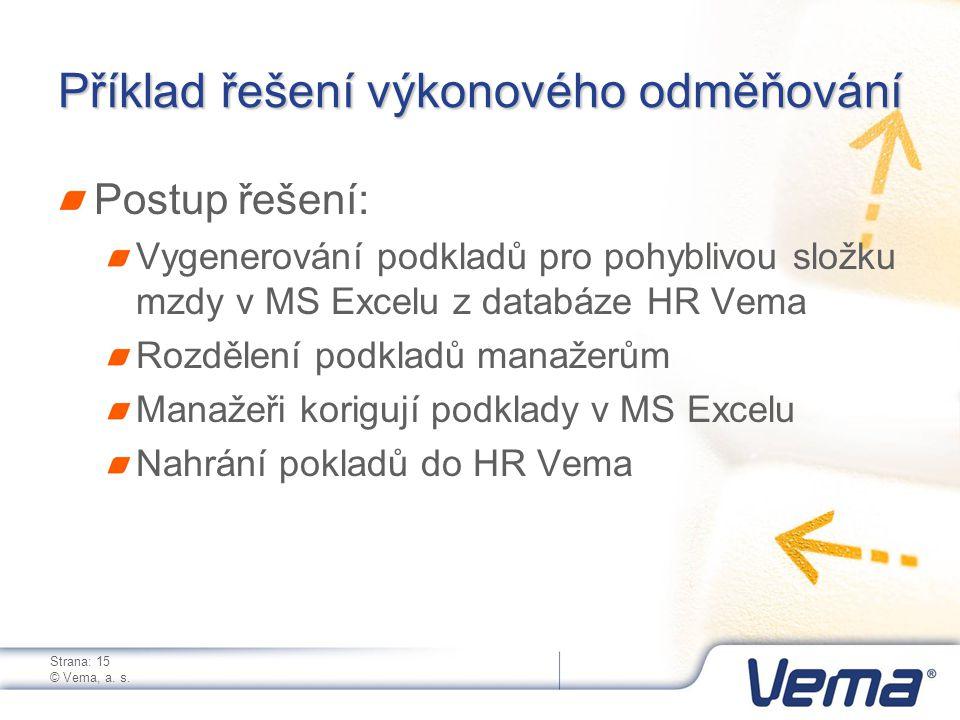 Strana: 15 © Vema, a. s. Příklad řešení výkonového odměňování Postup řešení: Vygenerování podkladů pro pohyblivou složku mzdy v MS Excelu z databáze H