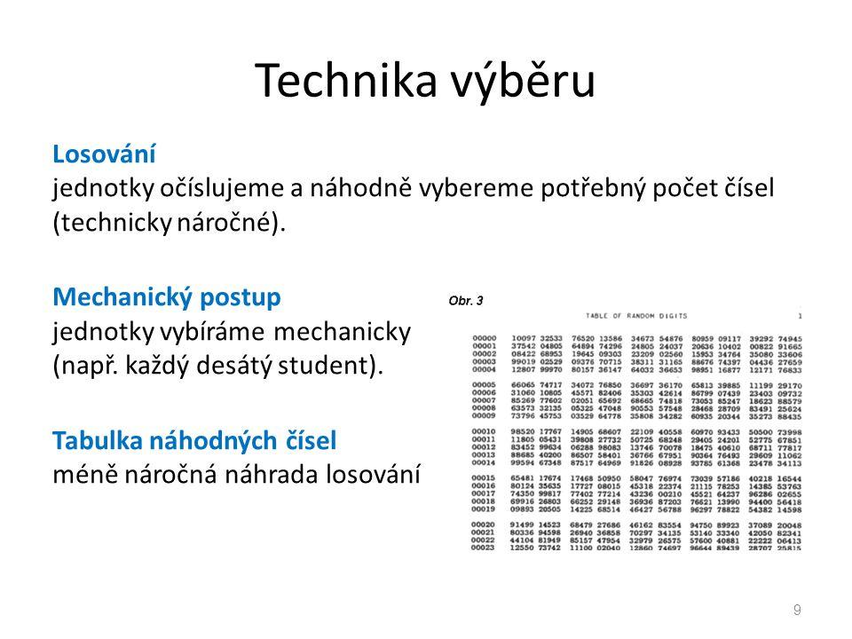 Technika výběru Losování jednotky očíslujeme a náhodně vybereme potřebný počet čísel (technicky náročné).