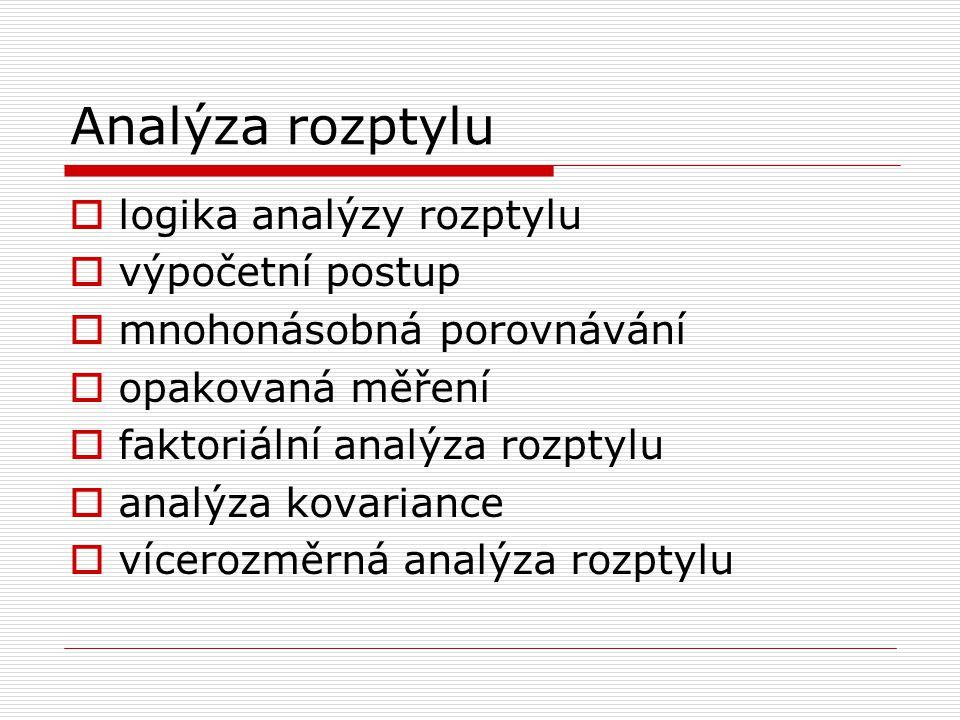 Analýza rozptylu  logika analýzy rozptylu  výpočetní postup  mnohonásobná porovnávání  opakovaná měření  faktoriální analýza rozptylu  analýza kovariance  vícerozměrná analýza rozptylu