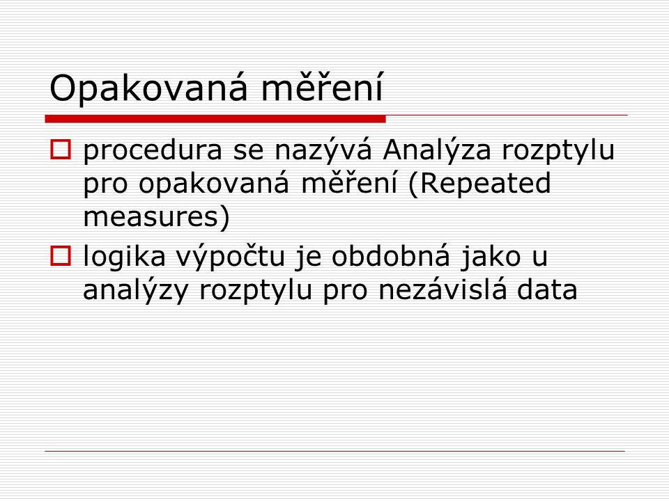 Opakovaná měření  procedura se nazývá Analýza rozptylu pro opakovaná měření (Repeated measures)  logika výpočtu je obdobná jako u analýzy rozptylu p