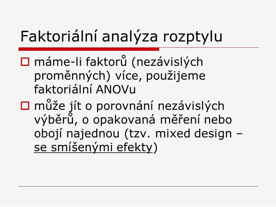 Faktoriální analýza rozptylu  máme-li faktorů (nezávislých proměnných) více, použijeme faktoriální ANOVu  může jít o porovnání nezávislých výběrů, o opakovaná měření nebo obojí najednou (tzv.