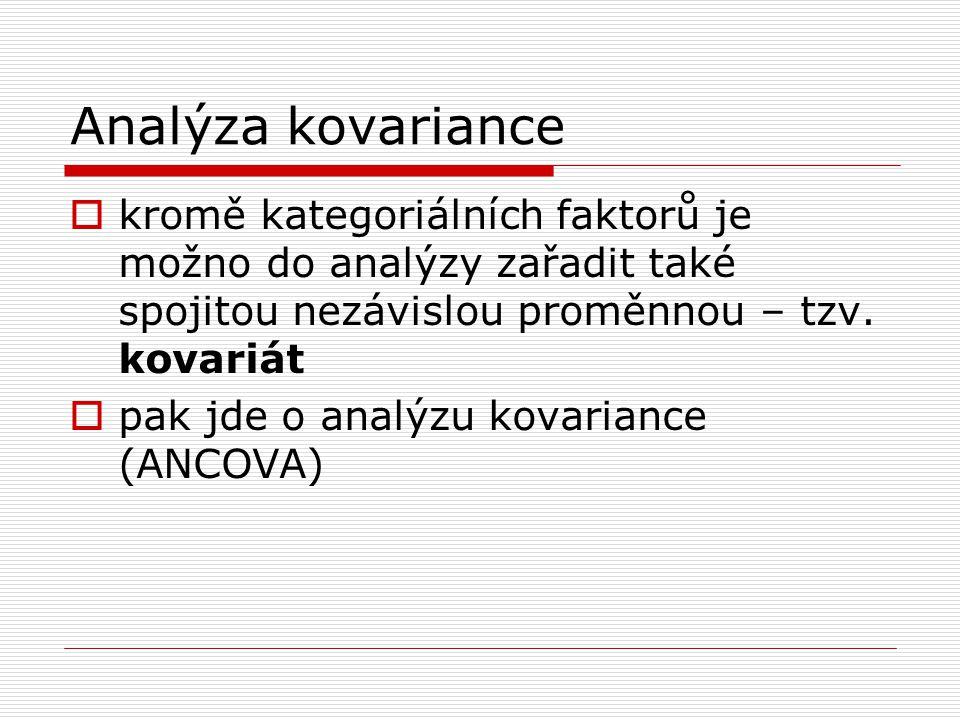 Analýza kovariance  kromě kategoriálních faktorů je možno do analýzy zařadit také spojitou nezávislou proměnnou – tzv.