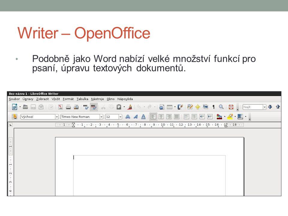 Writer – OpenOffice Podobně jako Word nabízí velké množství funkcí pro psaní, úpravu textových dokumentů.