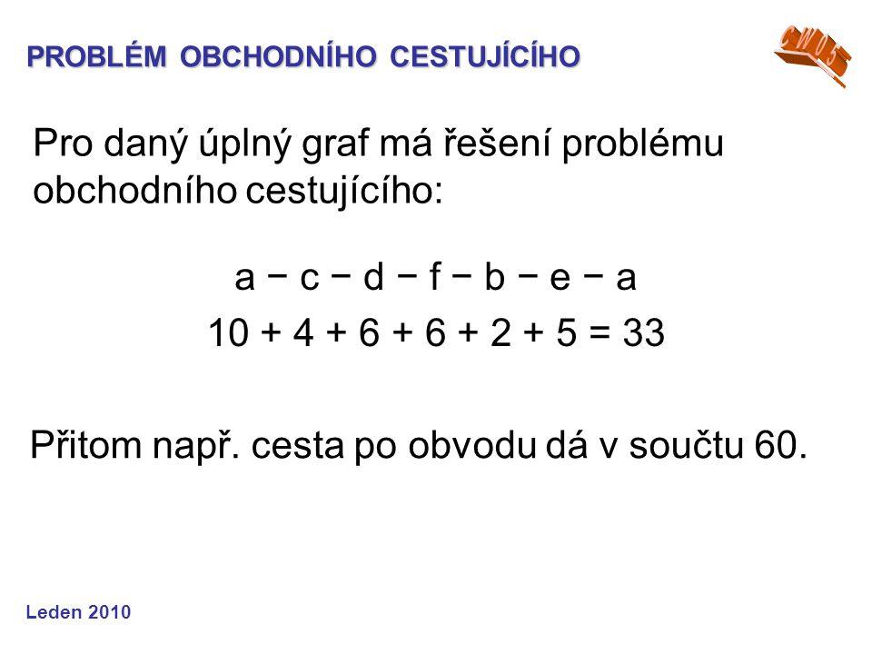 Pro daný úplný graf má řešení problému obchodního cestujícího: a − c − d − f − b − e − a 10 + 4 + 6 + 6 + 2 + 5 = 33 Přitom např. cesta po obvodu dá v
