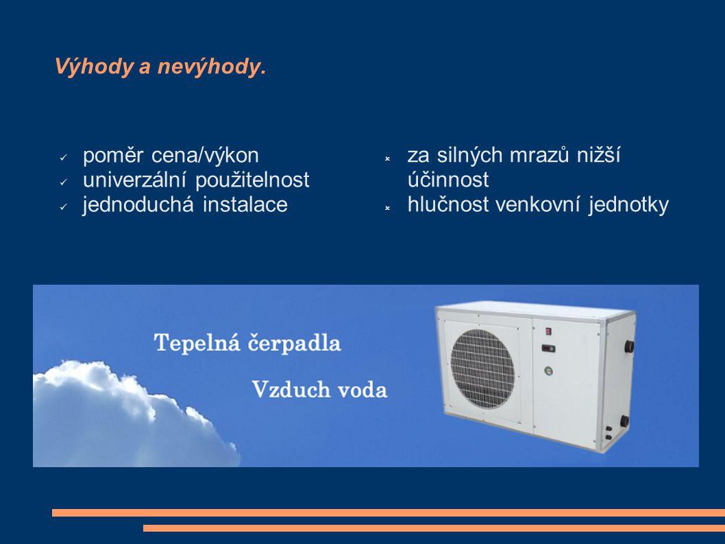 Výhody a nevýhody. poměr cena/výkon univerzální použitelnost jednoduchá instalace  za silných mrazů nižší účinnost  hlučnost venkovní jednotky