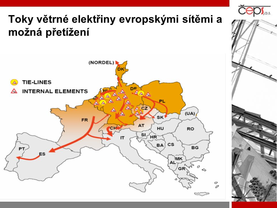 Toky větrné elektřiny evropskými sítěmi a možná přetížení