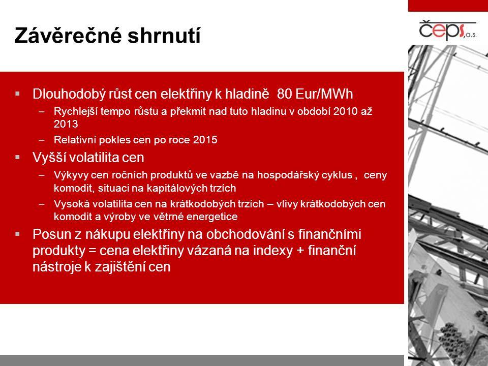 Závěrečné shrnutí  Dlouhodobý růst cen elektřiny k hladině 80 Eur/MWh –Rychlejší tempo růstu a překmit nad tuto hladinu v období 2010 až 2013 –Relati
