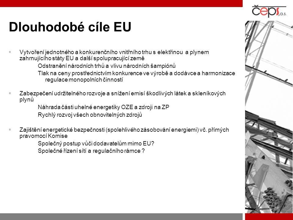 Dlouhodobé cíle EU  Vytvoření jednotného a konkurenčního vnitřního trhu s elektřinou a plynem zahrnujícího státy EU a další spolupracující země Odstranění národních trhů a vlivu národních šampiónů Tlak na ceny prostřednictvím konkurence ve výrobě a dodávce a harmonizace regulace monopolních činností  Zabezpečení udržitelného rozvoje a snížení emisí škodlivých látek a skleníkových plynů Náhrada části uhelné energetiky OZE a zdroji na ZP Rychlý rozvoj všech obnovitelných zdrojů  Zajištění energetické bezpečnosti (spolehlivého zásobování energiemi) vč.